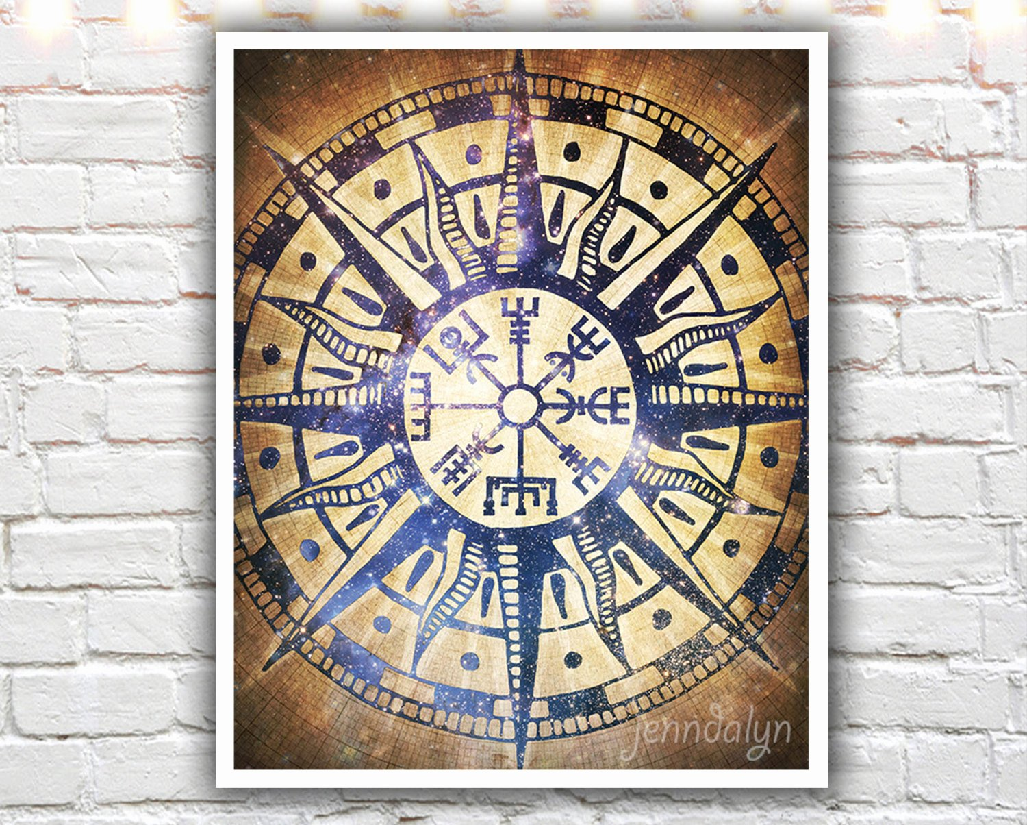 Compass Rose Print Out Unique Vegvsir Icelandic Design Viking Pass Rose Print