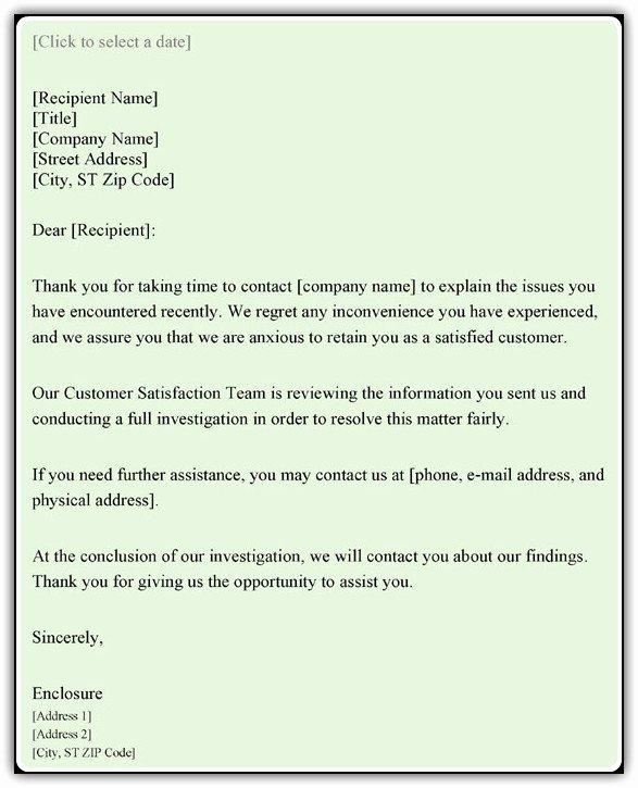 Complaint Response Template Elegant Customer Plaint Response Letter Sample Word Pdf Templates
