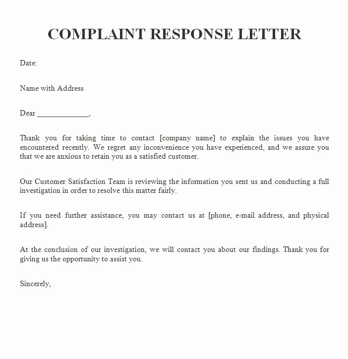 Complaint Response Template Elegant Plaint Letters Archives Free Sample Letters