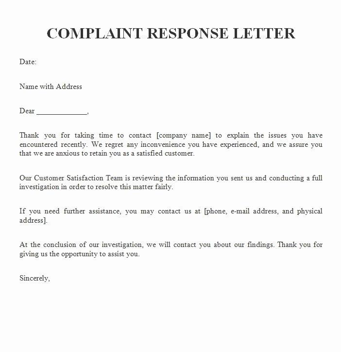 Complaint Response Template Lovely Plaint Response Letter Free Sample Letters