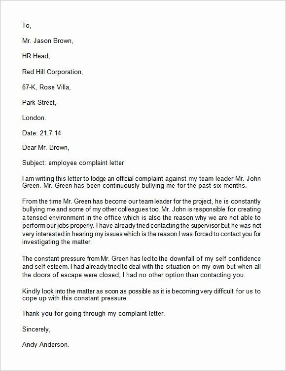 Complaint Response Template New Plaint Letter 17 Download Free Documents In Word Pdf