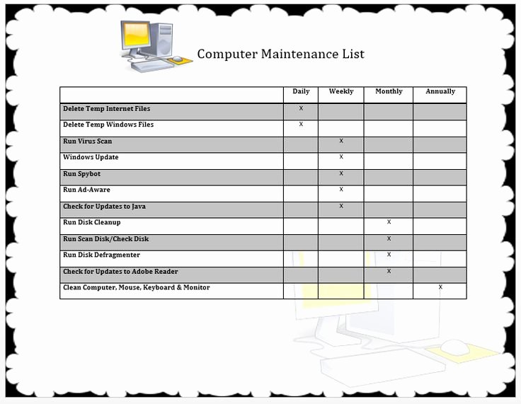Computer Repair Checklist Template Awesome Puter Maintenance List Template