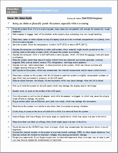 Computer Repair Checklist Template Unique as 25 Melhores Ideias De Puter Maintenance No Pinterest