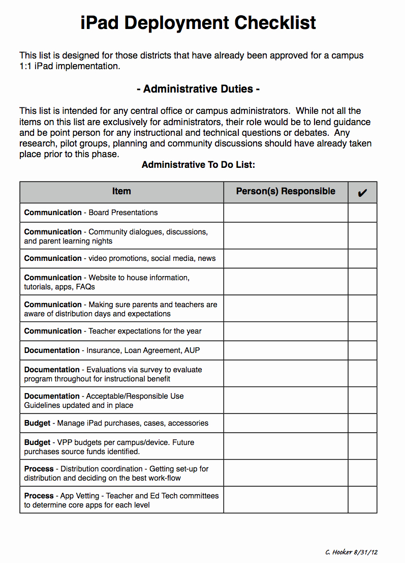 Computer Repair Checklist Template Unique K 12 Ipad Deployment Checklist