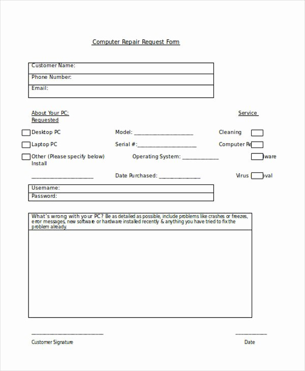 Computer Repair forms Templates Beautiful Request forms In Word