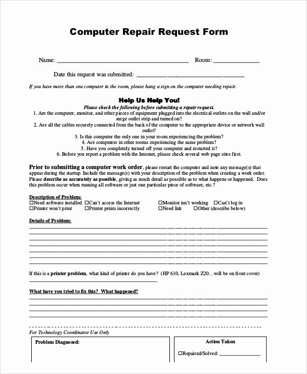 Computer Repair forms Templates Best Of 12 Sample Repair Request forms