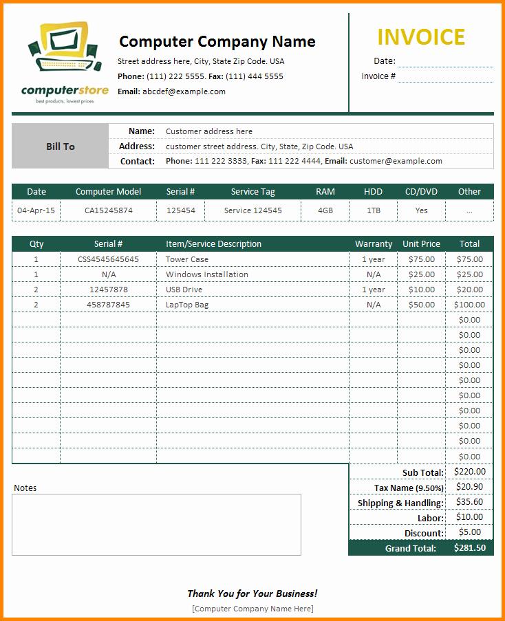 Computer Repair forms Templates Elegant 6 Puter Service Bill format