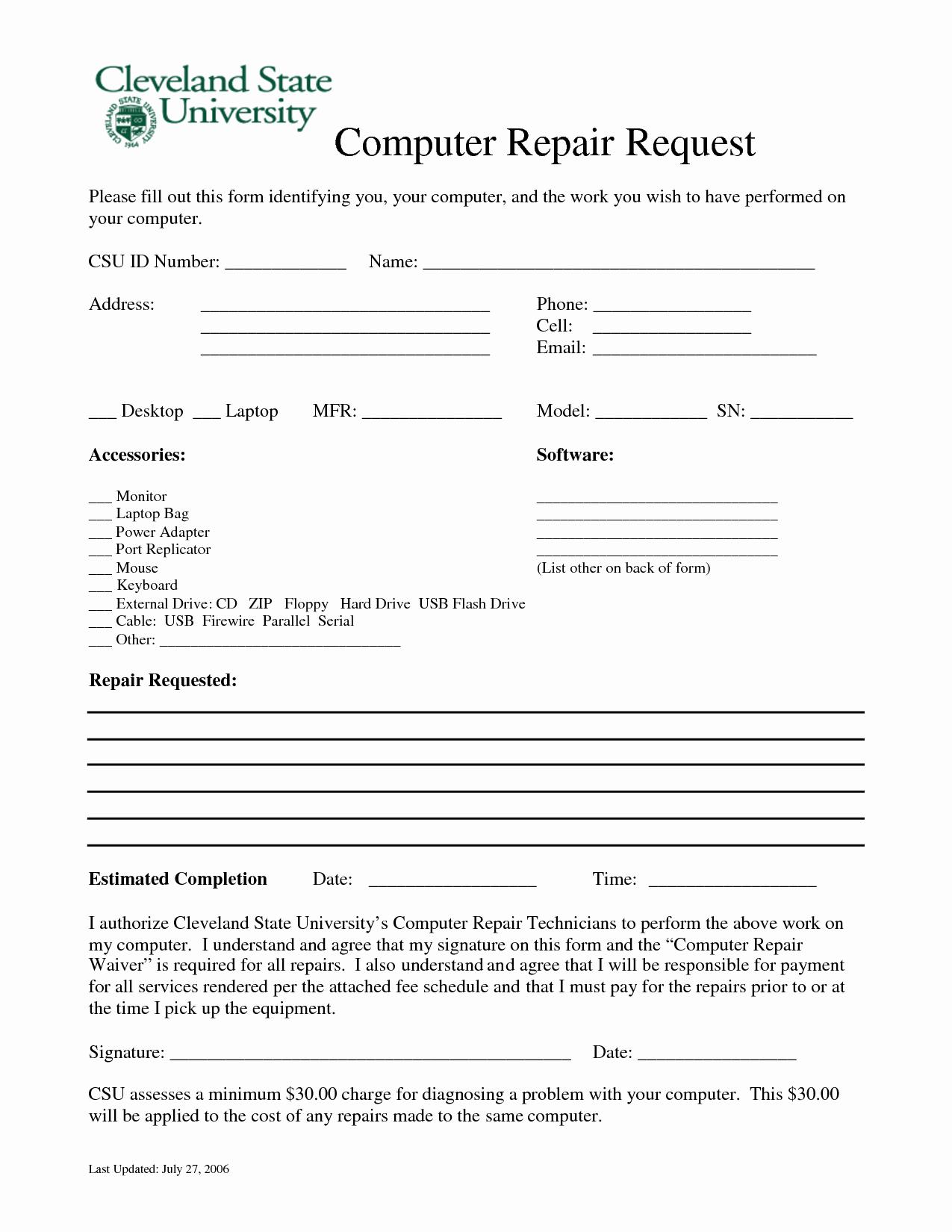 Computer Repair forms Templates Elegant Puter Repair forms Free Printable Documents