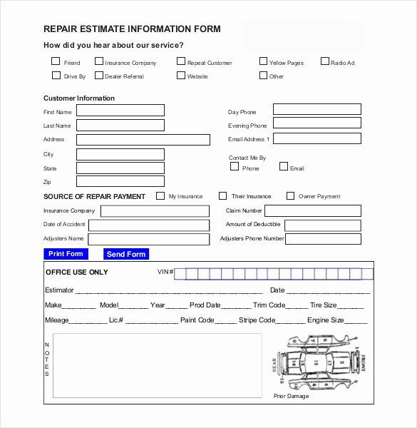 Computer Repair forms Templates Luxury 20 Repair Estimate Templates Word Excel Pdf