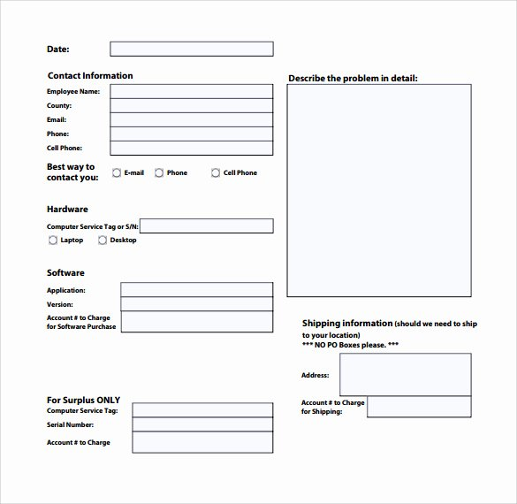 Computer Repair forms Templates New Service Request form Template