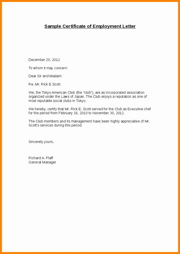 Concerned Letter Sample Beautiful 15 Certify Letter Of Employment