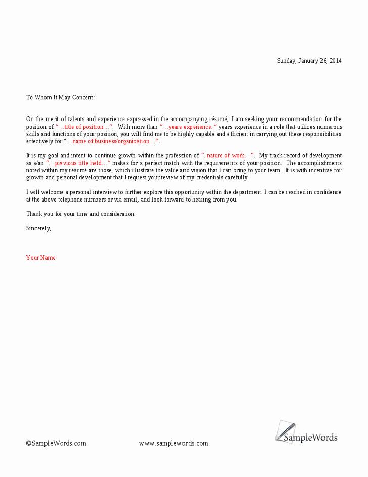 Concerned Letter Sample Elegant to whom It May Concern Cover Letter Samplebusinessresume