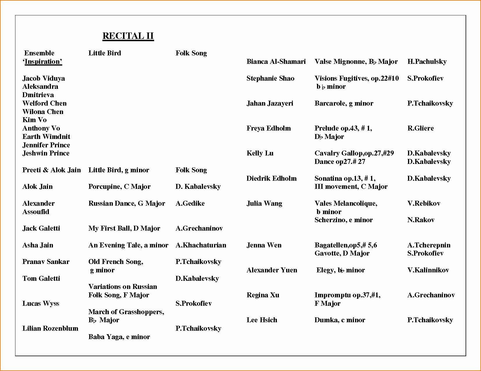 Concert Program Template Free Beautiful 6 Music Program Template