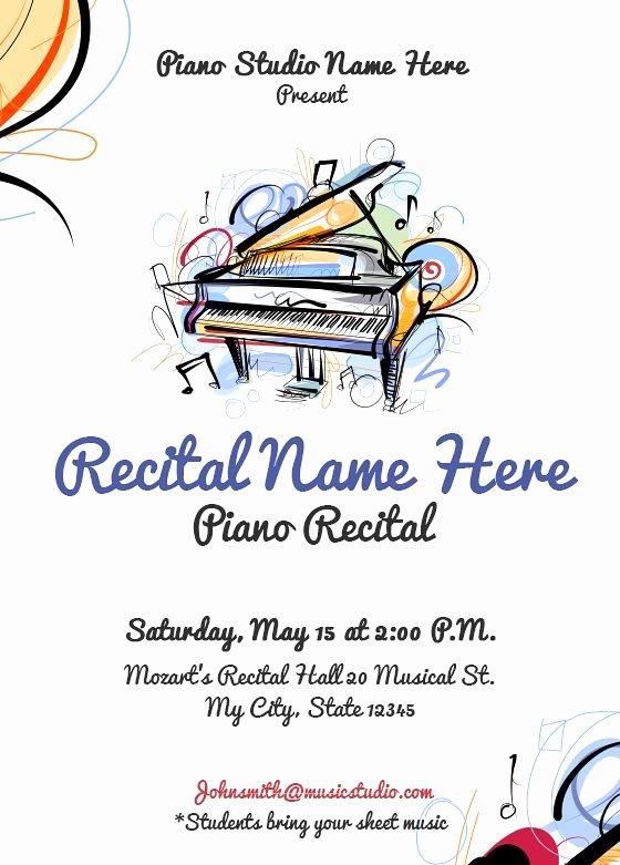 Concert Program Template Free Fresh 26 Best Piano Recital Invitations Images On Pinterest