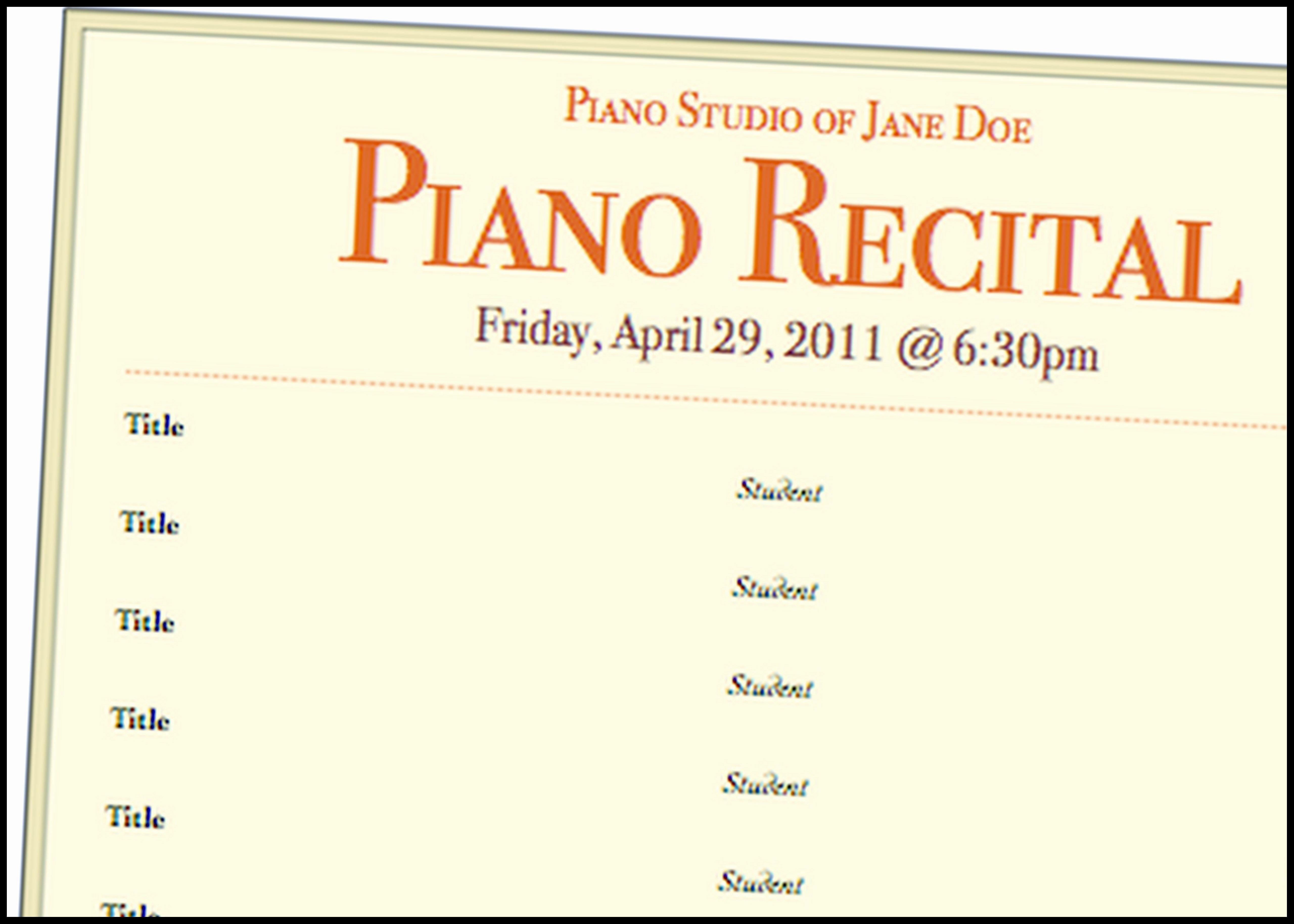 Concert Program Template Free Luxury A Basic Piano Recital Program Template for Free Music