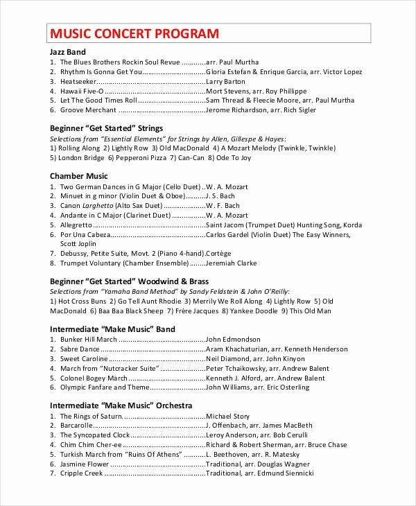 Concert Program Template Free New 9 Concert Program Templates – Free Sample Example format