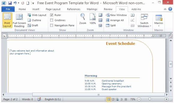 Concert Program Template Free New Free event Program Template for Word