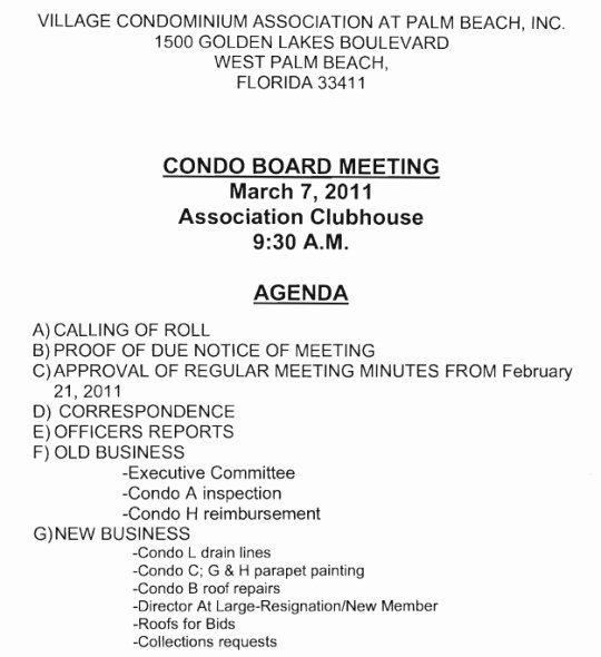 Condo association Budget Template Best Of Notice Of Board Meeting – Village Condominium association