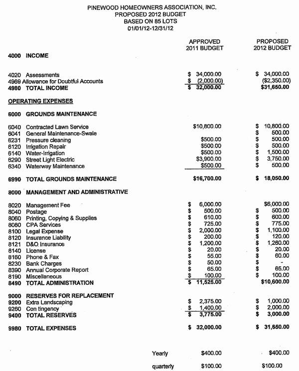 Condo Budget Template New 23 Of Hoa Bud Template
