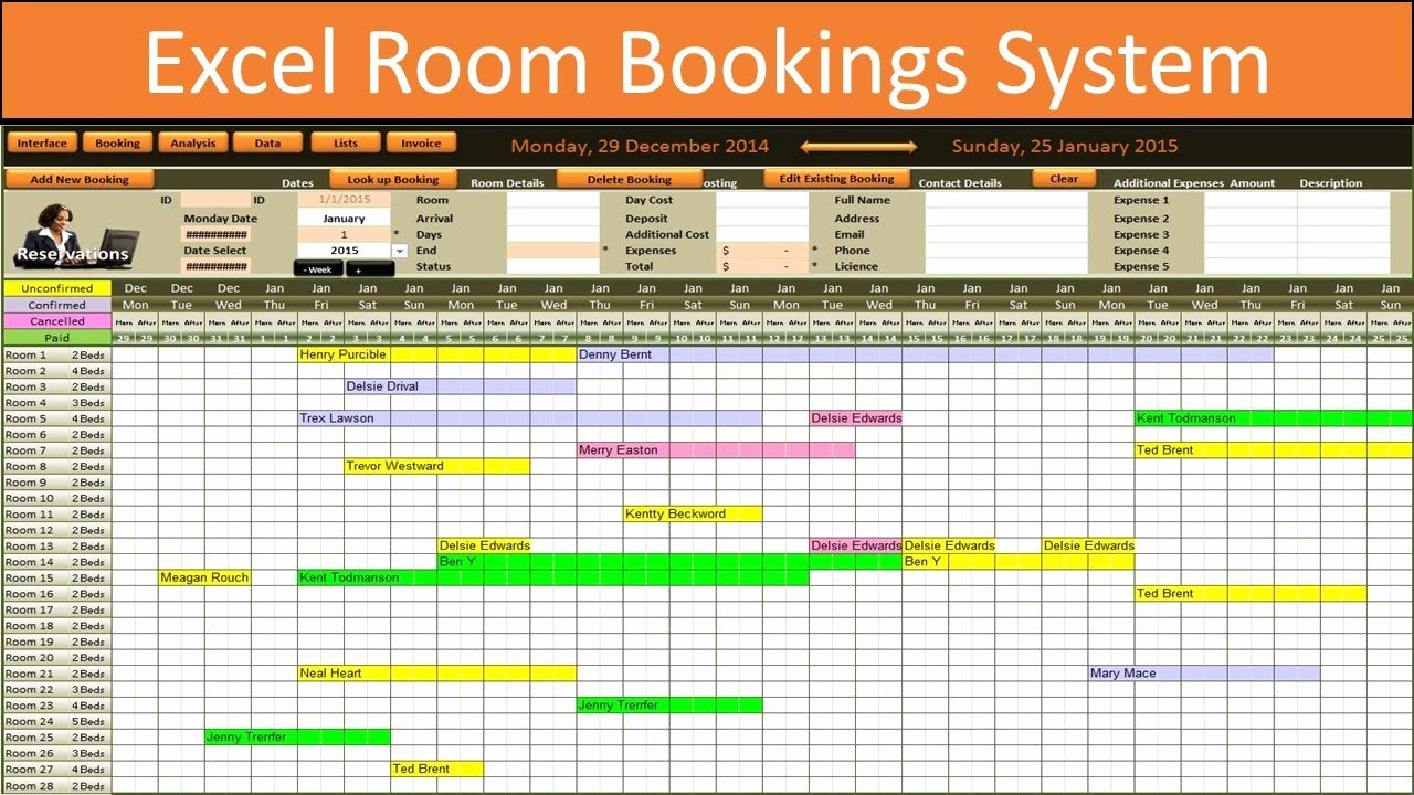 Conference Room Schedule Template Inspirational Excel Room Bookings Calendar