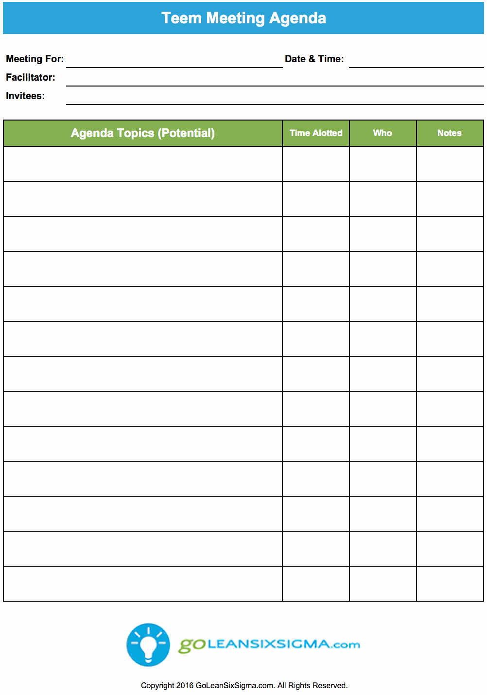 Conference Room Schedule Template Inspirational Team Meeting Agenda Goleansixsigma