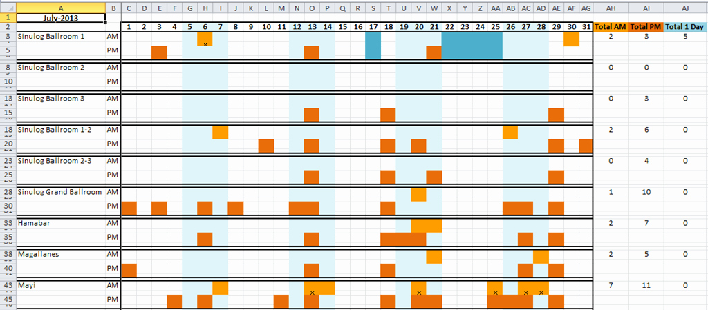 Conference Room Schedule Template Lovely How to Make A Dynamic Hotel Ballroom Occupancy Chart