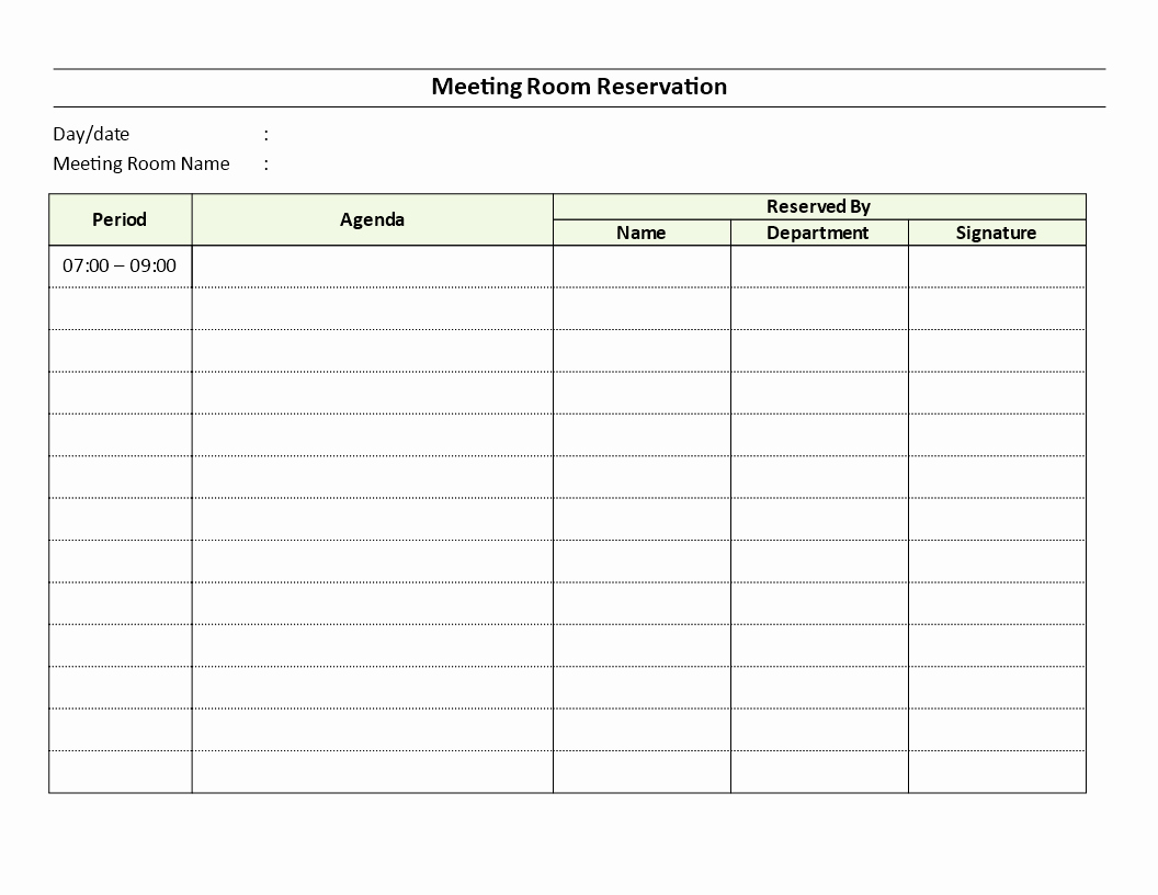 Conference Room Schedule Template New Meeting Room Reservation Sheet Download This Meeting