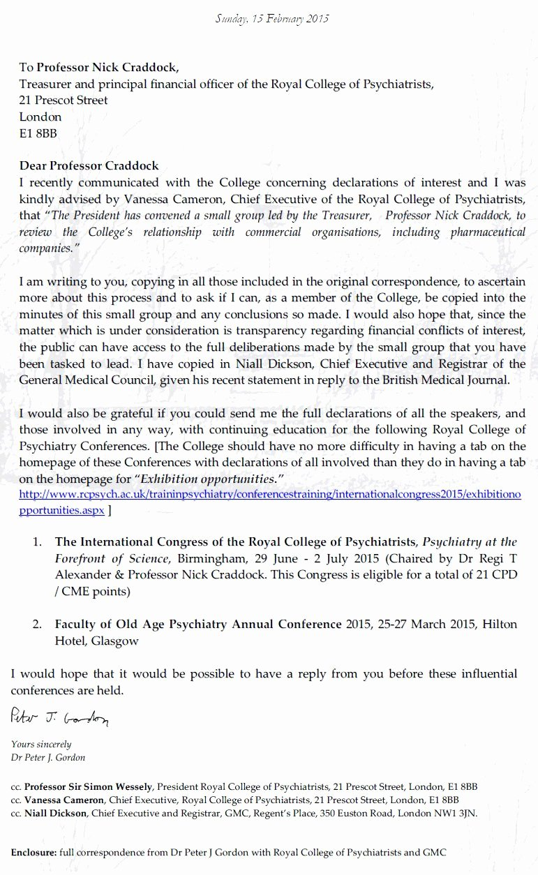 Conflict Of Interest Letter Luxury Royal College Of Psychiatrists and Conflicts Of Interest