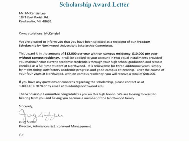 Congratulations Scholarship Award Letter Lovely Career Development Portfolio