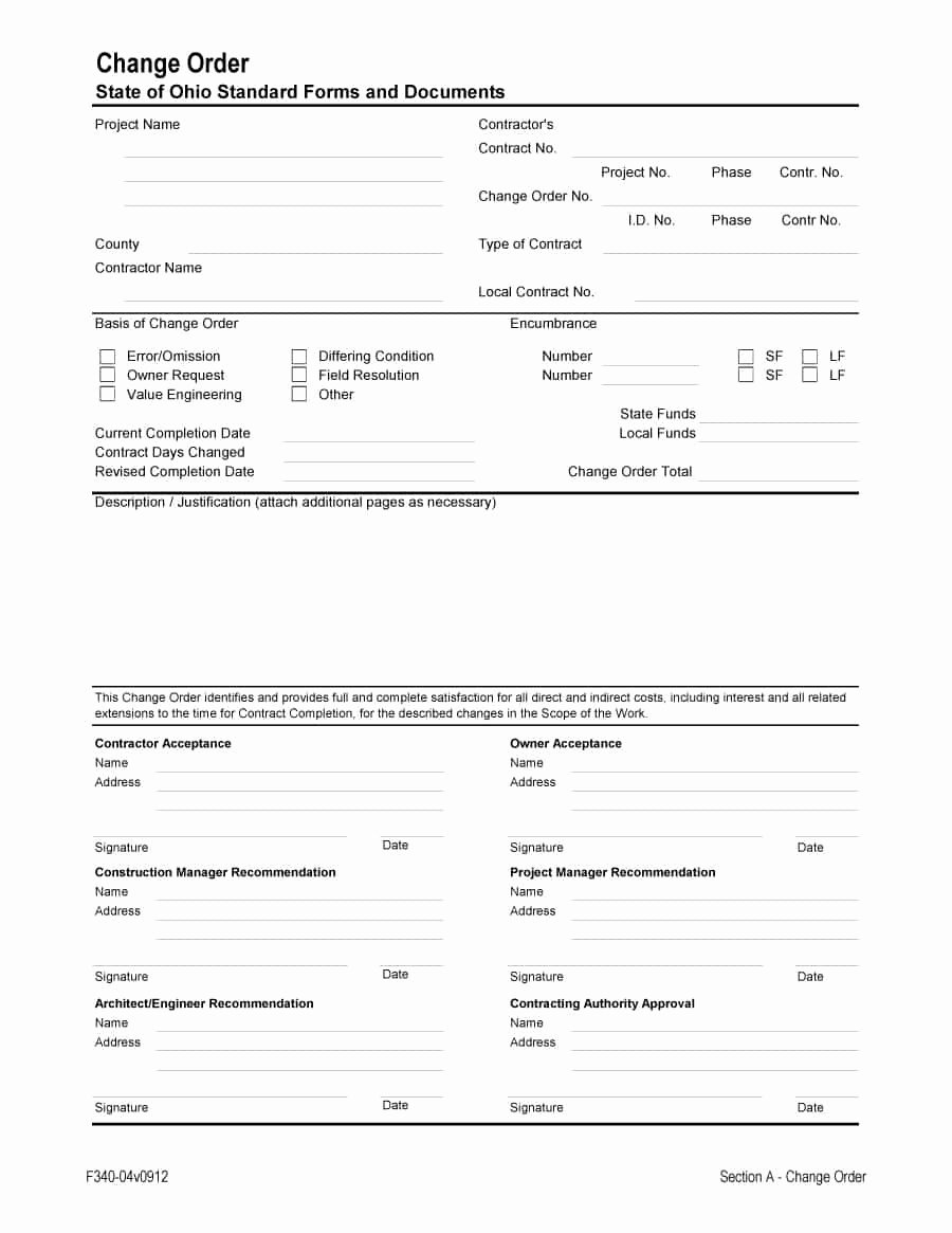 Construction Change order Template Awesome 40 order form Templates [work order Change order More]