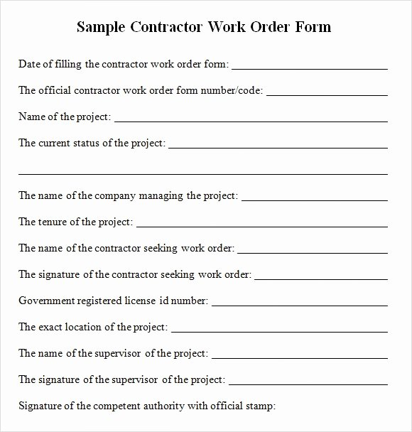 Construction Change order Template Awesome Sample Contractor Work order forms