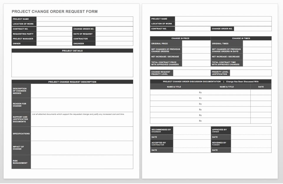Construction Change order Template Beautiful Plete Collection Of Free Change order forms