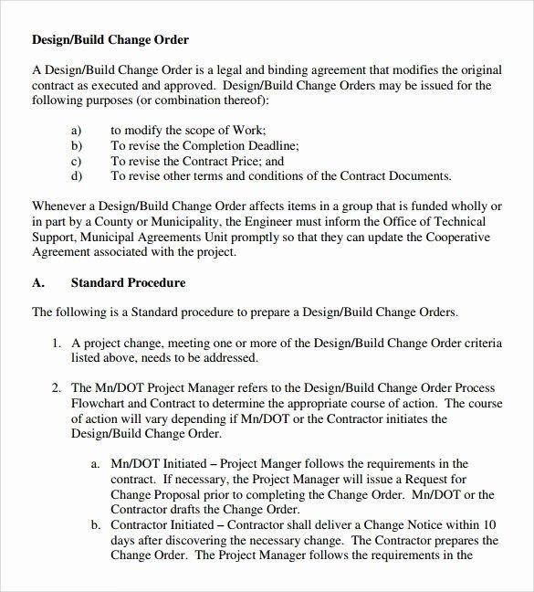 Construction Change order Template Inspirational 11 Change order Samples