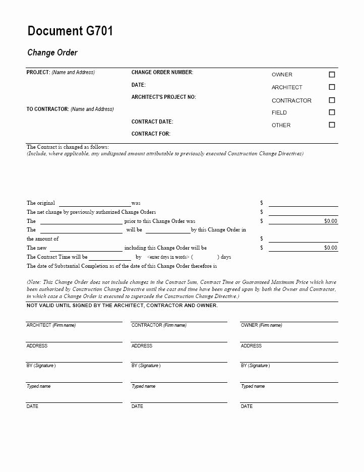 Construction Change order Template Lovely Aia G701 Change order form Template for Excel Change