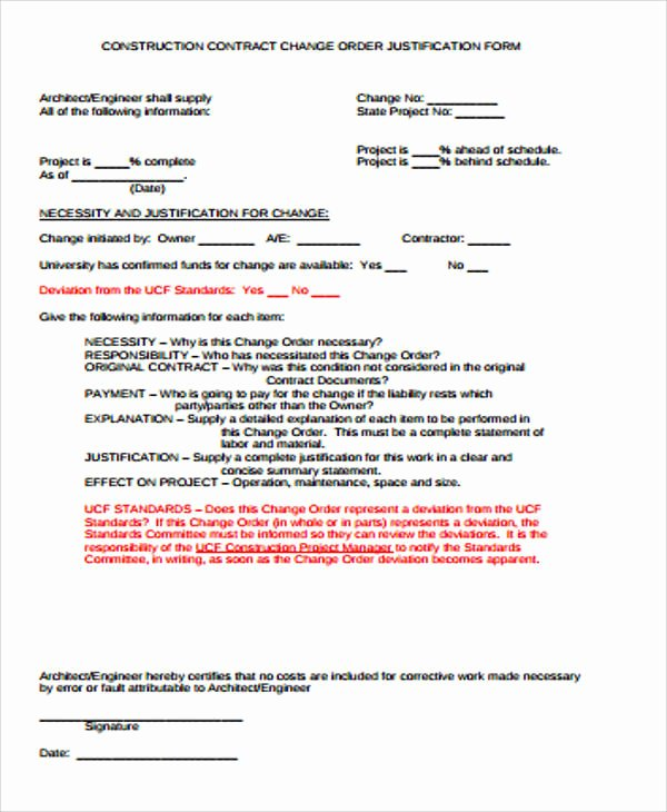 Construction Change order Template Lovely Sample Construction Change order form 7 Examples In