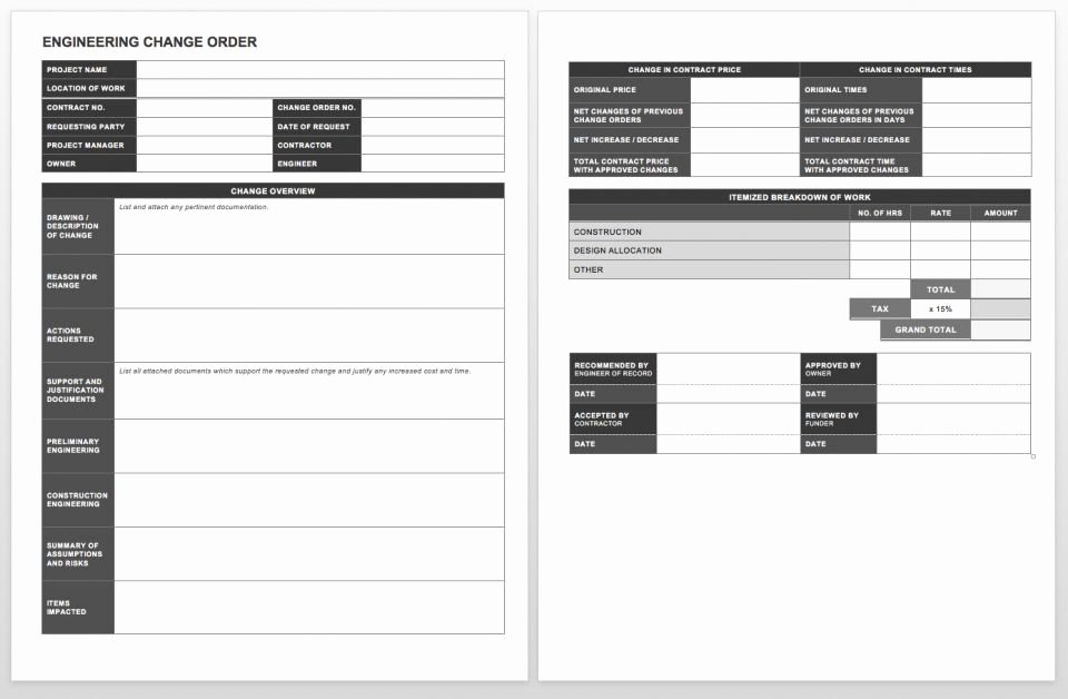 Construction Change order Template Word Awesome Plete Collection Of Free Change order forms