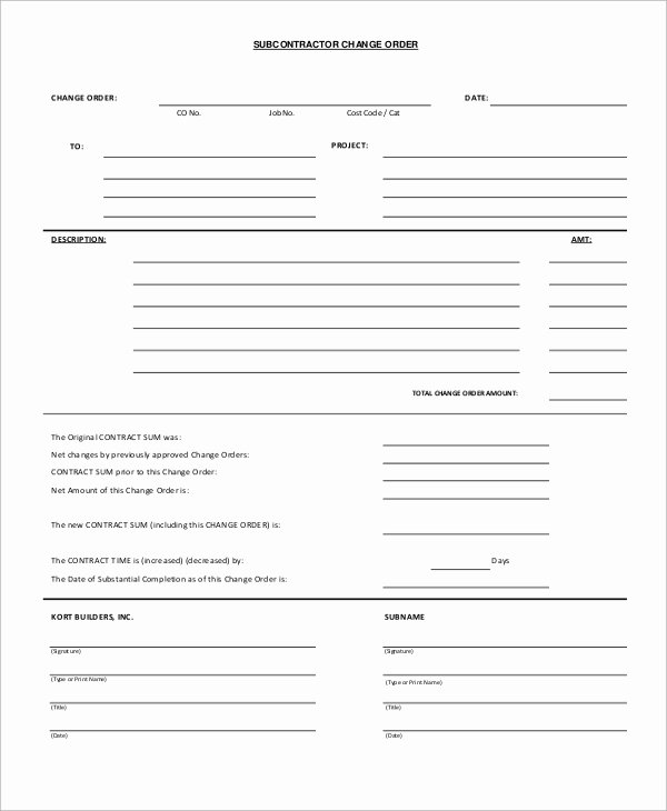 Construction Change order Template Word Best Of Sample Change order form 12 Examples In Word Pdf