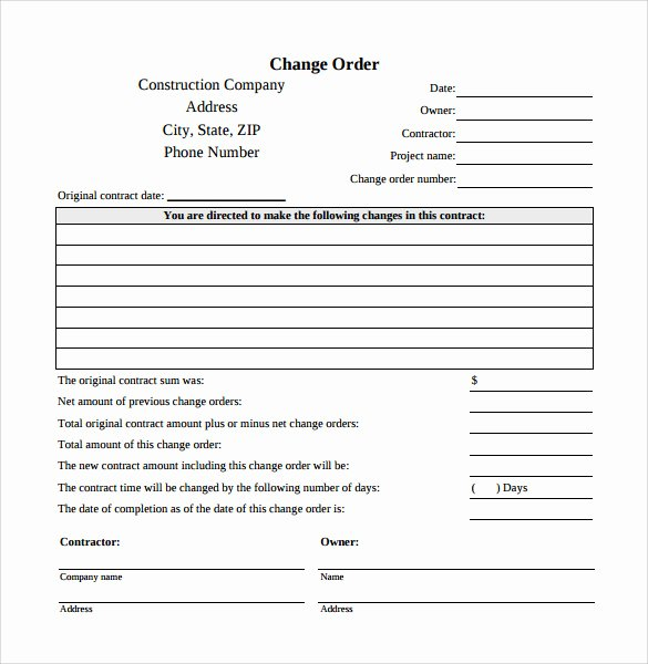 Construction Change order Template Word Elegant 11 Change order Templates to Download