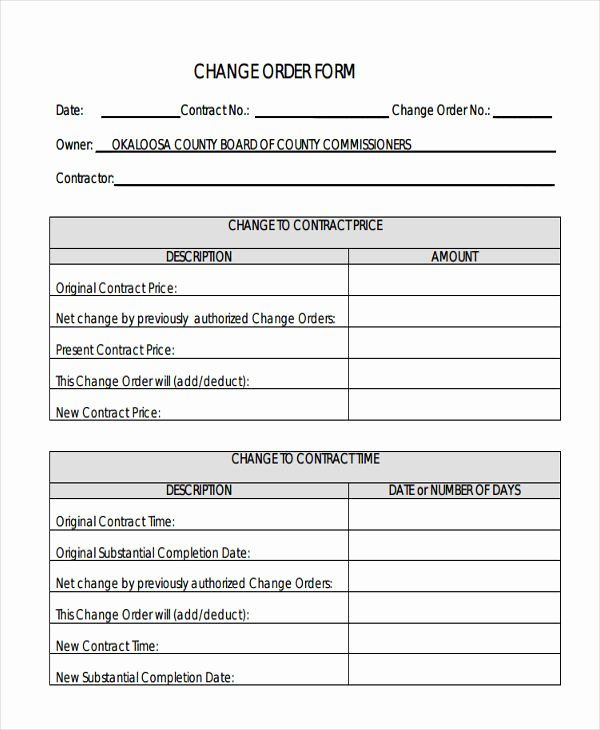 Construction Change order Template Word Fresh Change order forms 9 Free Word Pdf format Download