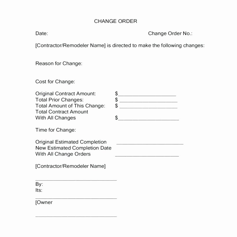 Construction Change order Template Word Fresh Free Change order Template Excel