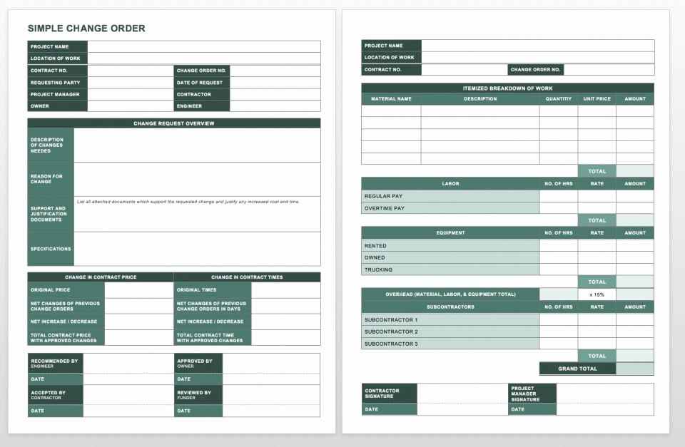 Construction Change order Template Word Inspirational Plete Collection Of Free Change order forms