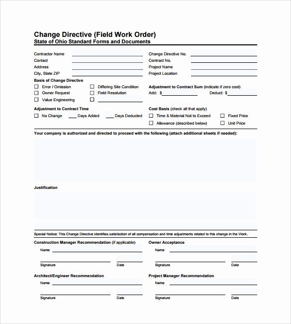 Construction Change order Template Word Unique 6 Sample Construction Work order forms – Pdf