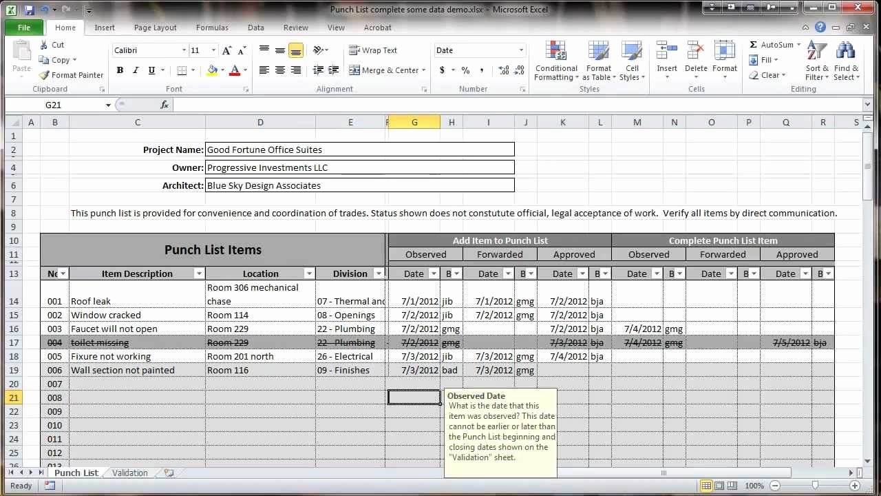 Construction Checklist Template Excel Awesome Excel 2010 Construction Punch List Overview