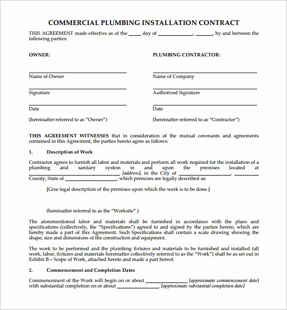 Construction Contract Template Free Download Beautiful 10 Plumbing Contract Templates & Samples Doc Pdf