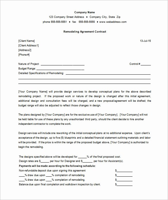 Construction Contract Template Free Download Best Of 11 Remodeling Contract Templates Docs Word Apple