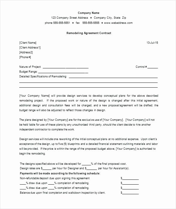 Construction Contract Template Free Download Fresh 14 Remodeling Proposal Template