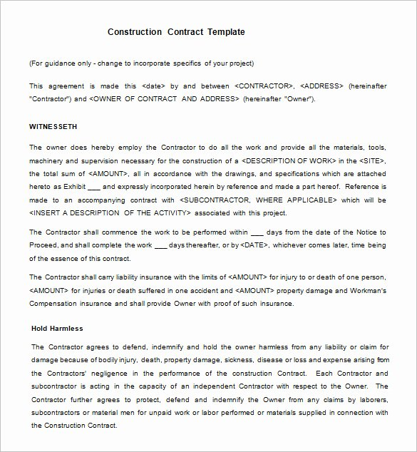 Construction Contract Template Free Download Inspirational Legal Contract Template