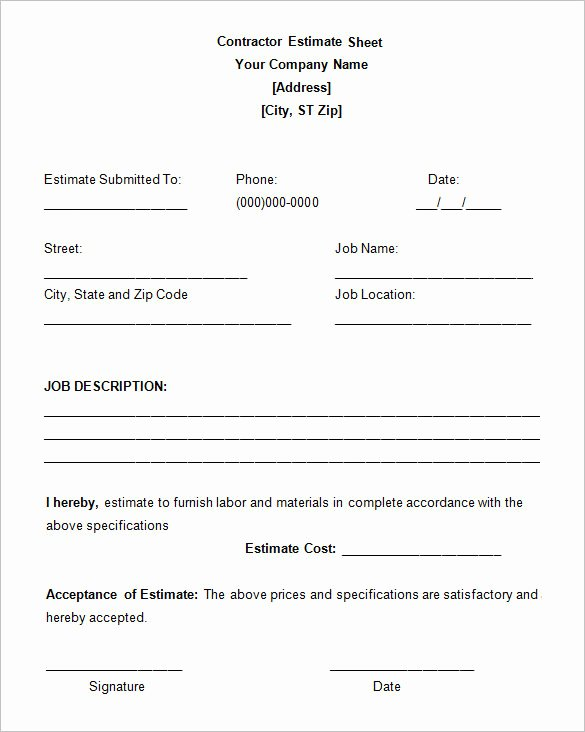 Construction Contract Template Free Download Luxury 6 Work Estimate Templates – Free Word & Excel formats