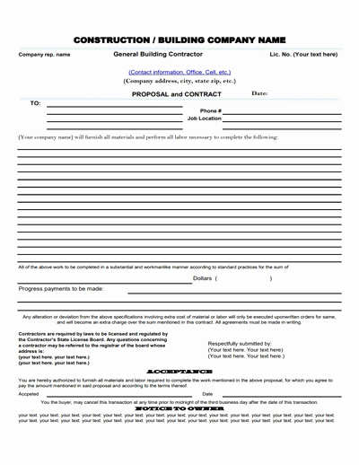 Construction Contract Template Free Download New Construction Work Proposal Template