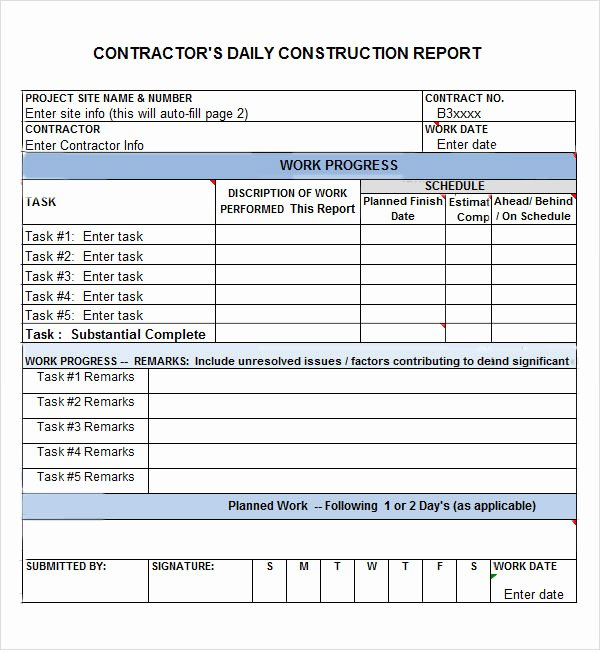 Construction Daily Log Template Inspirational Daily Report 7 Free Pdf Doc Download